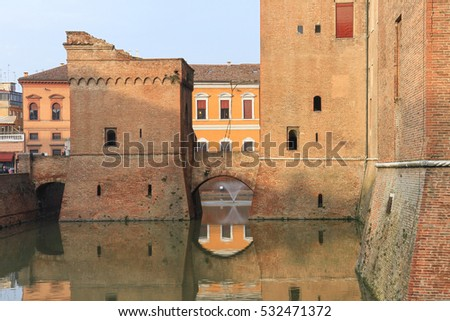 Ferrara, Italy - February 22, 2016: The moated medieval Castle Estense in the center of Ferrara in Italy
