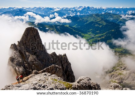 ferrata konigsjodler in Austria - stock photo