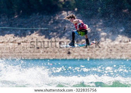 FERREIRA DO ZEZERE, PORTUGAL - SEPTEMBER 19, 2015: Lewy Watt (AUS) during the WWA Supra World Wakeboard Championship 2015 in Ferreira do Zezere, Portugal.