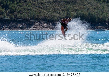 FERREIRA DO ZEZERE, PORTUGAL - SEPTEMBER 19, 2015: Steel Lafferty (USA) during the WWA Supra World Wakeboard Championship 2015 in Ferreira do Zezere, Portugal.