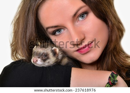 Ferret and woman - stock photo