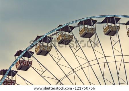 Ferris wheel cabins close up. - stock photo