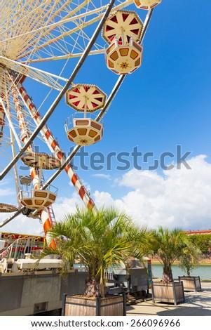 Ferris wheel gondolas in Toulouse France - stock photo