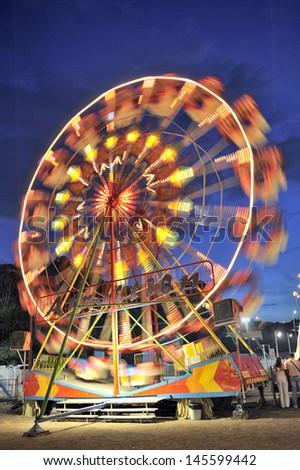 Ferris wheel in a summer night Nessebar - stock photo