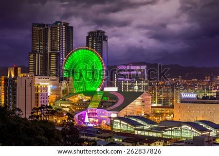 Ferris wheel in Taipei, Taiwan - stock photo