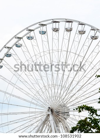 Ferris Wheel isolated on white - stock photo