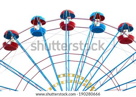 Ferris wheel isolated on white background - stock photo