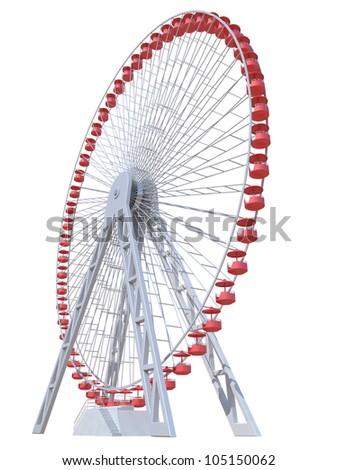 Ferris Wheel on a white background - stock photo