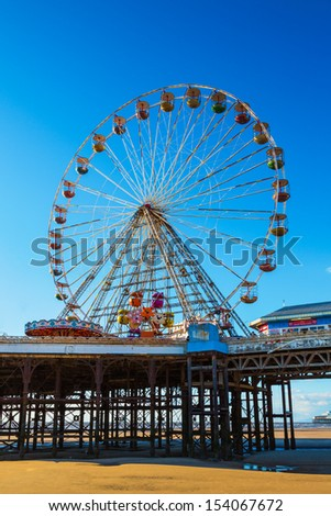 Ferris Wheel on Central Pier, Blackpool, Lancashire, UK - stock photo