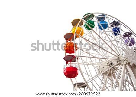 Ferris wheel on white - stock photo