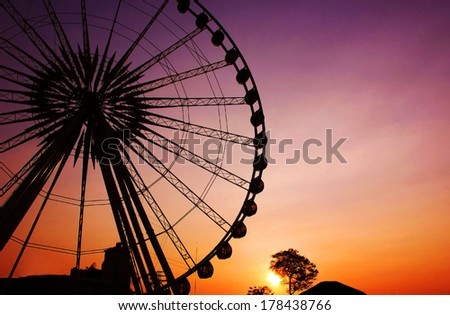 Ferris wheel Silhouette in the natural Thailand
