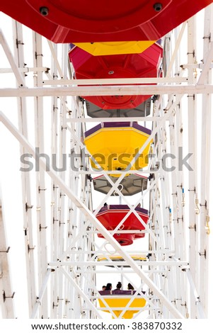 Ferris wheel. View from inside the wheel - stock photo