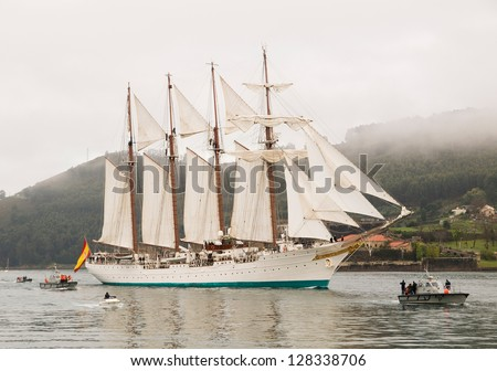FERROL, SPAIN - FEBRUARY 15: Spanish Navy Training Ship, Juan Sebastian de Elcano on February 15 , 2013, in Ferrol, Spain.This is the training ship of spanish army and is entering at Ferrol estuary.
