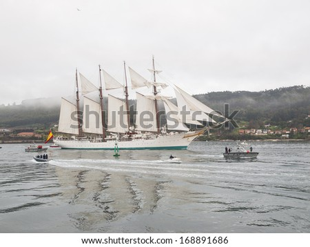 FERROL, SPAIN - FEBRUARY 15: Spanish Navy Training Ship, Juan Sebastian de Elcano on February 15 , 2013, in Ferrol, Spain. This is the training ship of spanish army and is entering at Ferrol estuary.