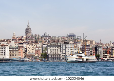 ferry and Galata tower, istanbul