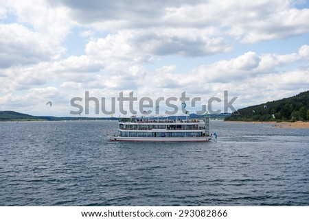 Ferry at the Brombachsee, Bavaria, Germany