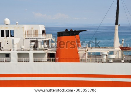 Ferry boat deck. Rust abandoned passenger ship closeup detail. - stock photo