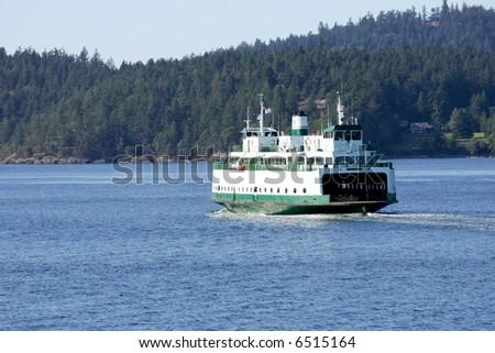 Ferry boat in San Juan Islands, Washington - stock photo