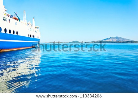 ferry boat on port - stock photo