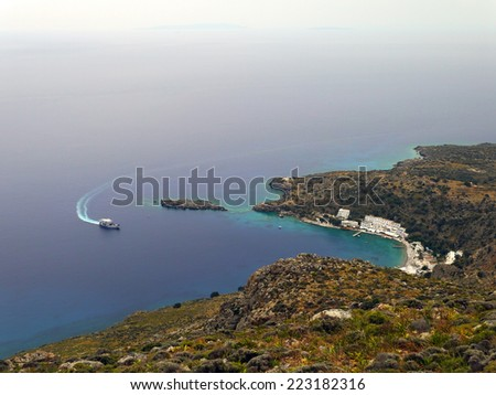 Ferry go to the small village Loutro. Southern Crete, Greece - stock photo