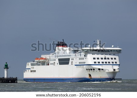 Ferry in Calais, France - stock photo