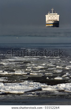 Ferry in the Winter - stock photo