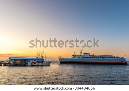 ferry sense from Port Angeles City Pier. - stock photo