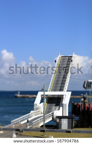 ferry terminal selective focus - stock photo