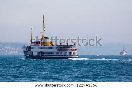 Ferryboat in Istanbul Turkey transporting people