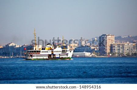 Ferryboat in Izmir, Turkey. Transporting people  - stock photo
