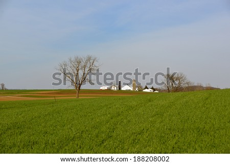 Fertilized fields in Amish Country ready for the corn planting season - stock photo
