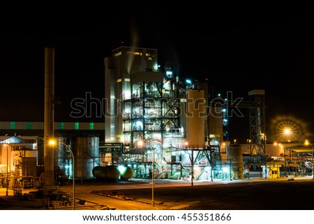Fertilizer factory at night
