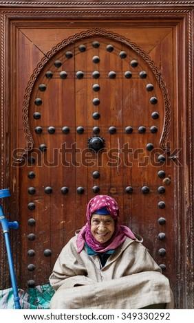 FES, MOROCCO - NOVEMBER 1, 2015: People of Fes Medina, Morocco - stock photo