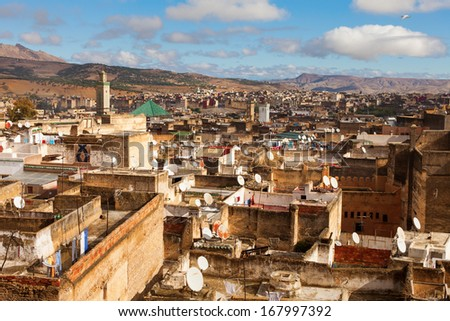 FES - NOVEMBER 24: View of Medina Fes from above. Fes is a historic city listed in UNESCO. NOVEMBER 24, 2013 Fes, Morocco. - stock photo