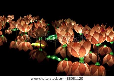 festival lotus lanterns - stock photo