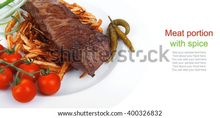 festival of taste : grill meat on potato chips with fresh tomato and hot green peppers isolated on white background - stock photo
