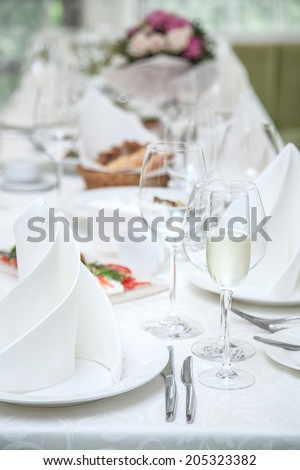 Festival table setting at the restaurant.
