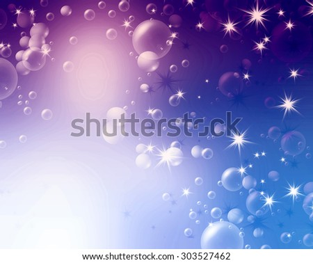 festive air bubbles, abstract blue background - stock photo