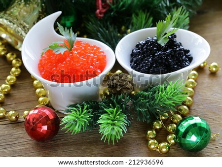 festive appetizer delicacy red and black caviar, Christmas Still Life - stock photo