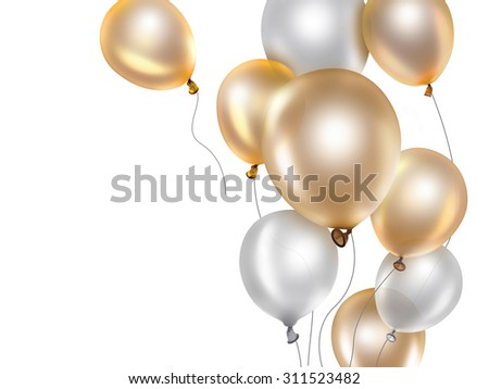 festive background with gold and white balloons - stock photo