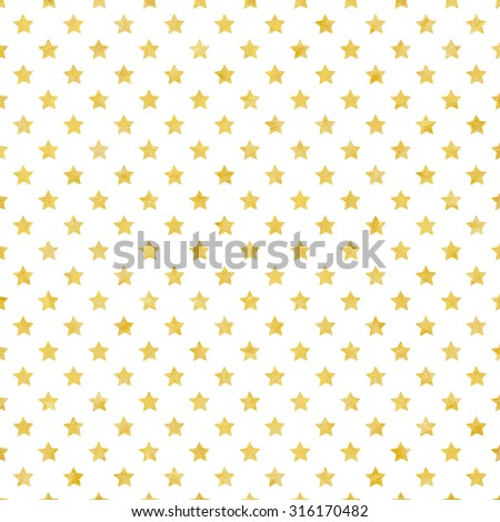 Festive background with gold stars, gold foil texture - stock photo