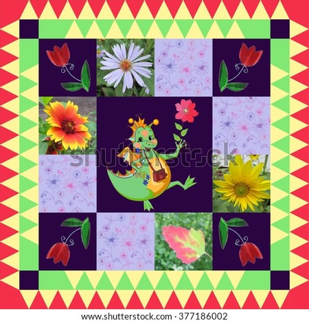 Festive bandana print or beautiful panel with happy dragon and bright flowers. Chinese zodiac sign - year of the dragon.  - stock photo