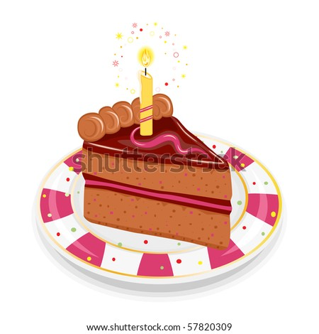 Festive birthday chocolate cake with golden candle. Isolated on white background.