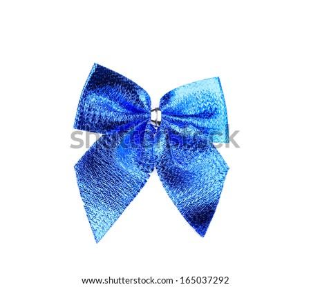 Festive blue bow made of ribbon. Isolated on a white background.