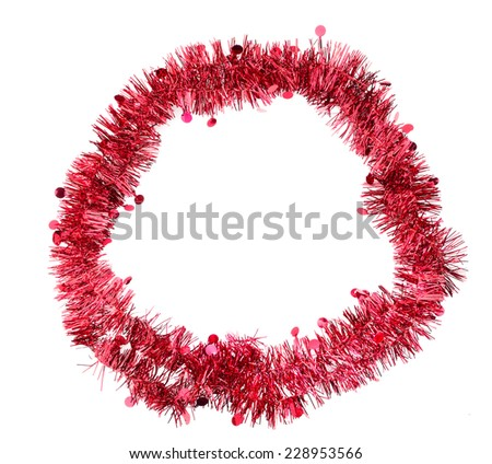 Festive border, frame. Ring of red tinsel. Ideal Christmas etc. - stock photo