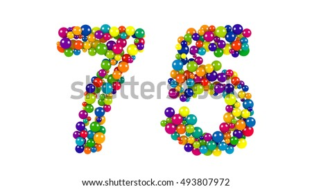 Festive brightly colored number seventy-five, 75 formed from rainbow colored balls of different sizes on a white background for use as a design element