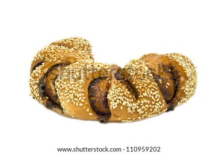 Festive challah isolated on white background - stock photo