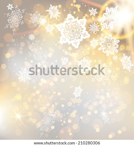 Festive christmas background with snowflakes and lights. Copy space. Raster version. - stock photo