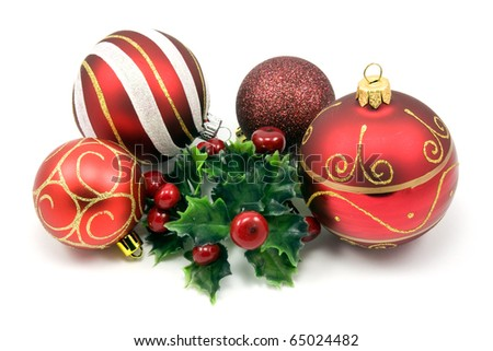 festive christmas decorations isolated on  white background - stock photo