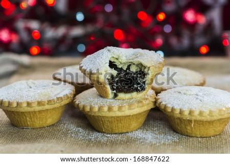 Festive Christmas mince pies - stock photo